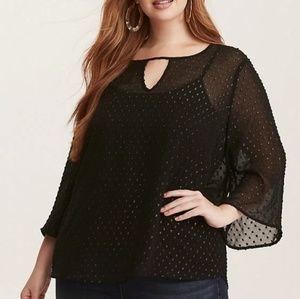 Black sheer bell sleeves blouse